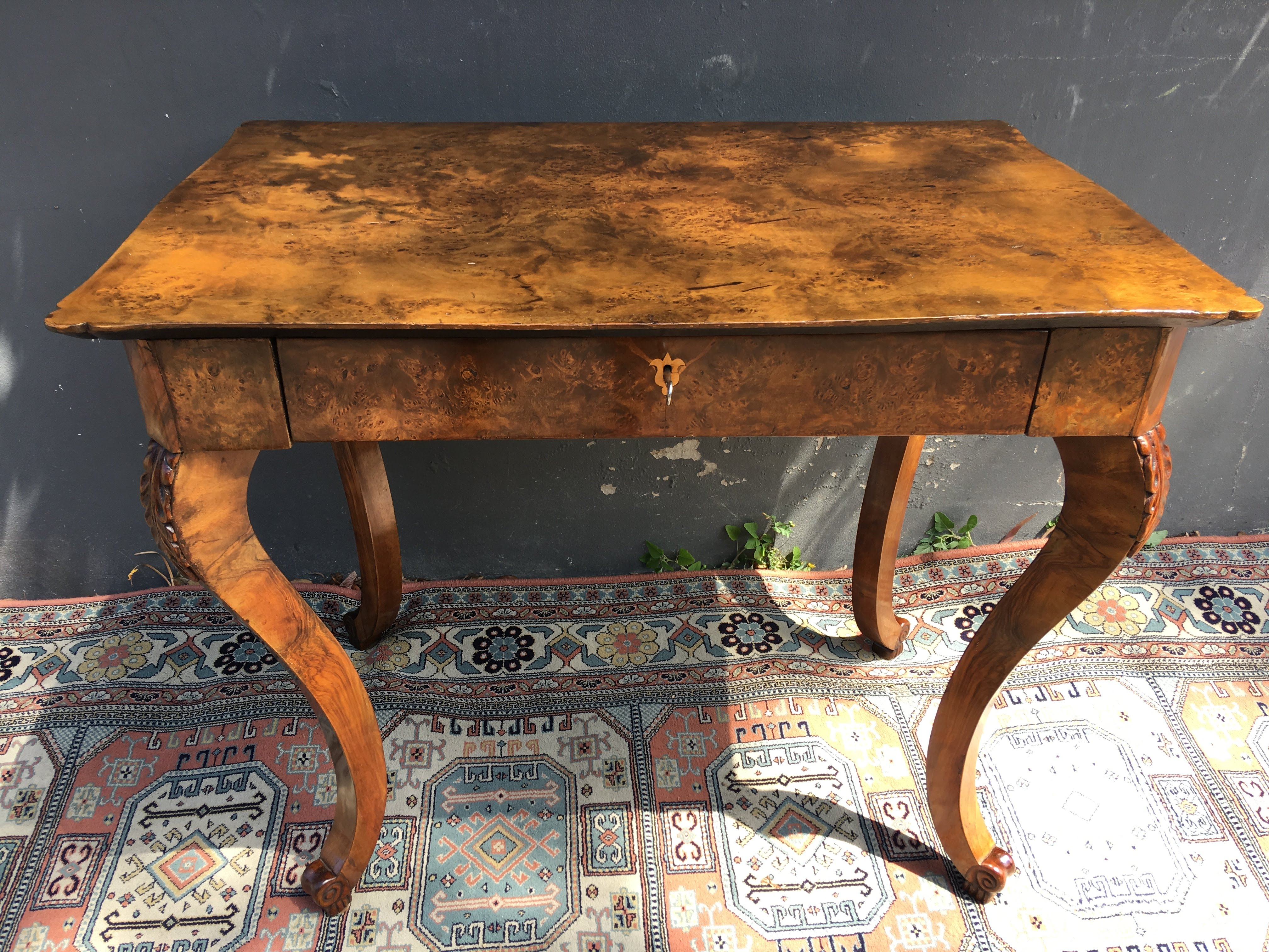 Austrian Biedermeier Side Table An Early 19th Century Austrian Biedermeier  Table In Birdseye Satin Birch, With A Shaped Top, Cabriole Legs With  Acanthus ...